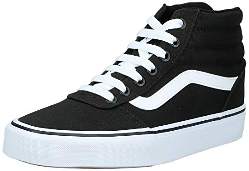 Vans Damen Ward Hi Hohe Sneaker, Schwarz ((Canvas) Black/White 187), 39 EU