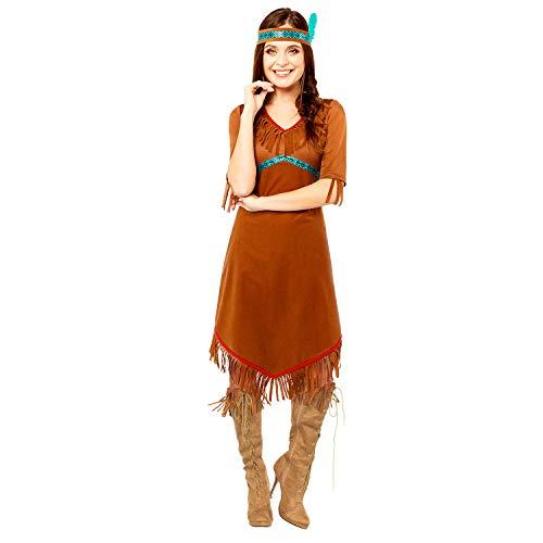 amscan 9907080 - Disfraz para mujer de nativo americano, talla 16-18, color marrón
