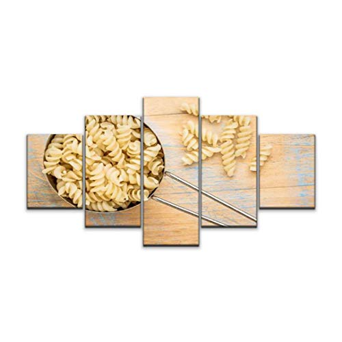 5 panels Wall Art Print On Canvas gluten free quinoa fusilli pasta noodles stock pictures royalty free Modern Abstract Picture Poster for Home Decor Stretched and Framed Ready to Hang (60''Wx32''H)