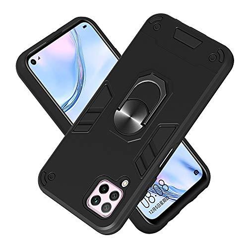 FAWUMAN Hülle für Huawei Nova 6SE mit Standfunktion, PC + TPU Rüstung Defender Ganzkörperschutz Hard Bumper Silikon Handyhülle stossfest Schutzhülle Case (Schwarz)