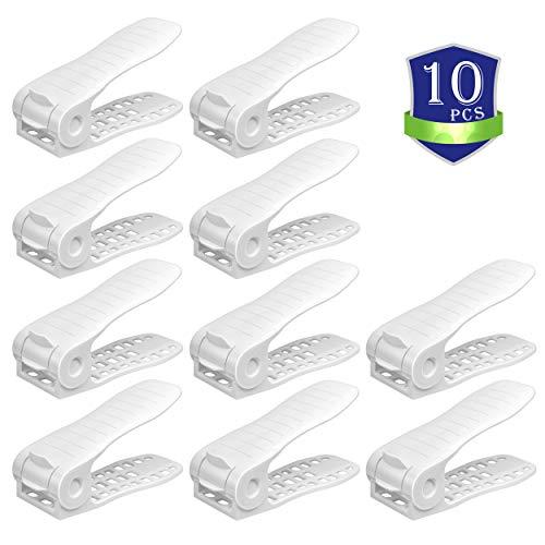 CHAIRLIN Einstellbare Schuhregale 10 Stück Verstellbarer Schuhstapler Schuhhalter Schuh Slots Kunstoff Schuhorganizer, weiß