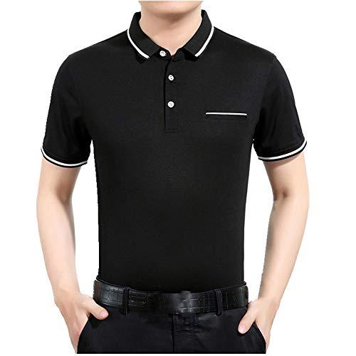Bolsillo de rayas para camiseta de manga corta para hombre de mediana edad. Negro XXL