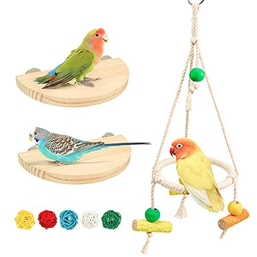 NC 3 Stück Sitzstangen Set für Vögel, Vogelkäfig Zubehör Vogel Spielzeug inkl. Wellensittich Schaukel und 2 Vogelsitzbrett für Wellensittich Nymphensittich Kanarienvogel Agaporniden (Stil 1)