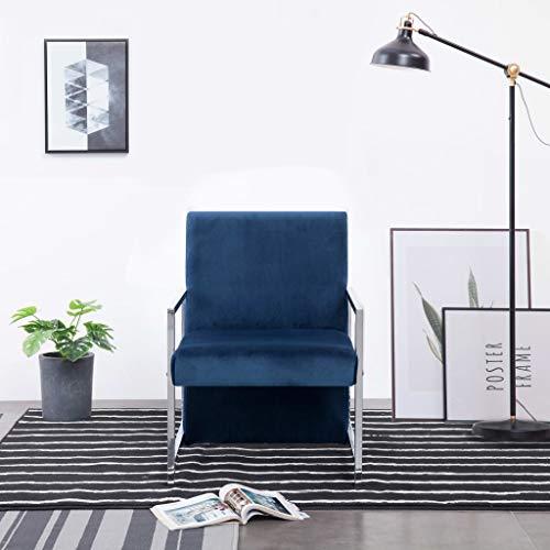 Tidyard Sillón Relax sillón de televisión Sillón con Patas cromadas de Terciopelo Azul