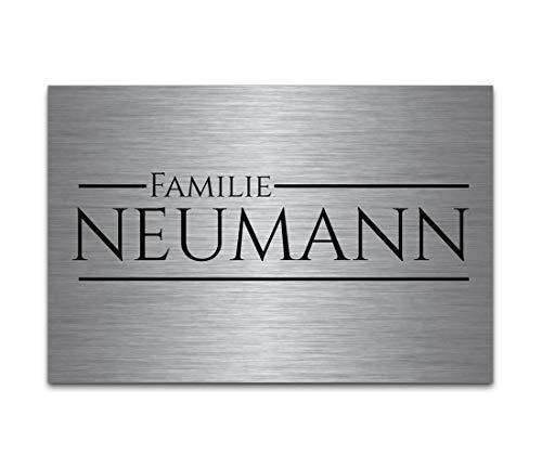 Premium Edelstahl Schilder mit Gravur | Türschild selbstklebend oder mit Bohrlöcher 9x6 cm eckig Namensschilder mit über 80 Motive Klingelschild - Türschilder für die Haustür mit Namen selbst gestalten