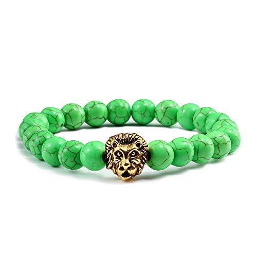 BIJOUX Pulsera verde Pareja clásica Pulseras elásticas de piedra natural Hombres Encanto...
