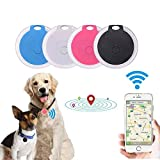 Soluoc Mini Dog GPS Tracking Device Locator Round Portable Bluetooth Intelligent Anti-Lost Device for Luggages/Kid/Pet Bluetooth Alarms (Pink)