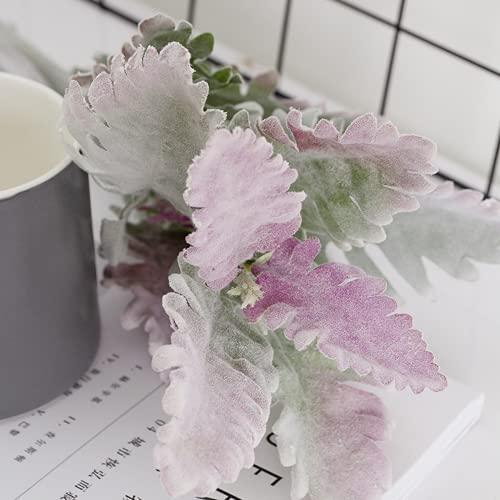 4 geerntete hochwertige simulation blume silber blatt chrysome filmen grüne pflanzt mit grünen blättern wohnzimmer schnee jubi dekoration
