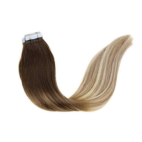 """LaaVoo 14"""" Balayage Tape Hair Extensions Human Marrón Oscuro a Marrón Claro y Rubio Dorado Cabello Humano Brasileño Natural 50g 20 Pcs"""