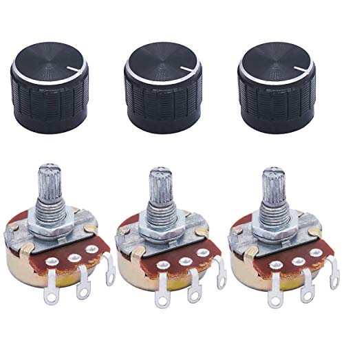 TWTADE / 3pcs Wh138 100k ohm Potentiometer Single Turn Rotary Linear Variable Potentiometer +3pcs black Aluminum alloy knob