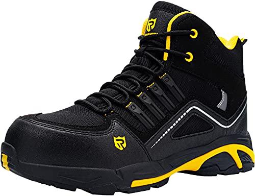 Zapatos de Seguridad Hombre Botas,S3 Zapatillas de Seguridad Antideslizantes con Punta de Acero Antipinchazos Calzados de Trabajo 43.5,Negro Amarillo