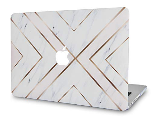LuvCase Laptop Case For Old MacBook Pro 13' Retina Display (2015/2014/2013/2012 Release) A1502/A1425 Rubberized Plastic Hard Shell Cover (White Marble Gold Stripes)