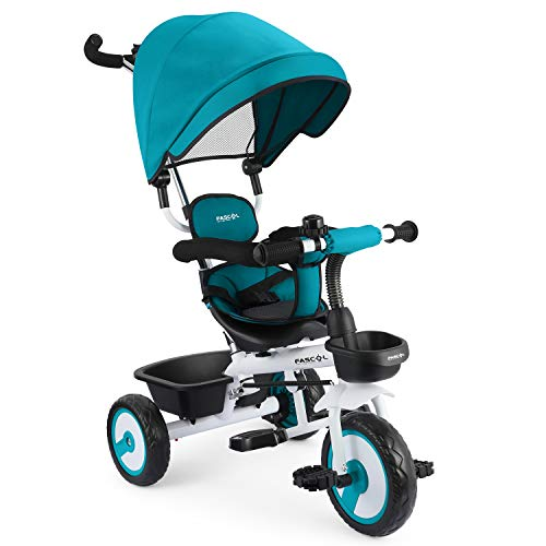 Fascol 4 in 1 Toddler Trike Kids Tricycle with Foldable pedals , 2...
