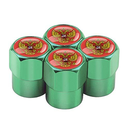 Ventilkappen 4pcs / set Kasten for Lada Niva Kalina Priora Granta Uaz Auto-Rad-Reifen Ventile Aluminium Reifen Stem Luftkappen Ventildeckel (Color : Green Red)