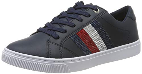 Tommy Hilfiger Dames Crystal Leather Casual Sneakers