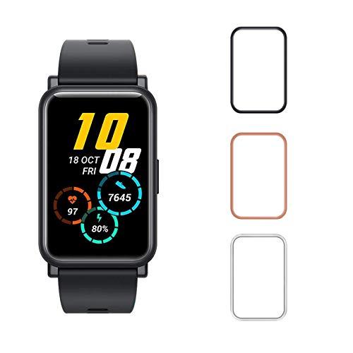 Aerku Hülle Kompatibel für Huawei Honor Watch ES, Schutzhülle Leicht Weiche Silikon Superdünne Kratzfest Bildschirmschutz TPU Hülle [Schwarz + Transparent + Roségold] -3 Stücke