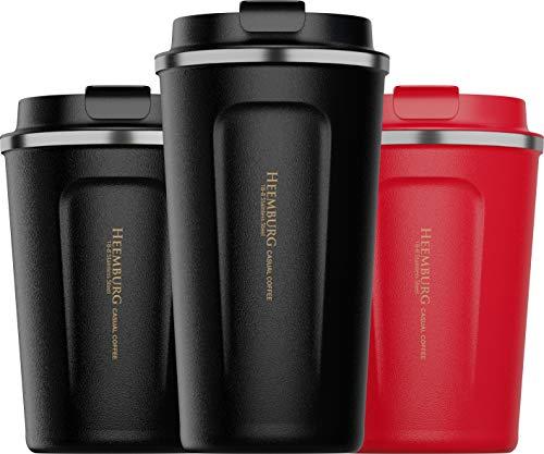 Heemburg Kaffeebecher für unterwegs Coffee-to-go Thermobecher schwarz 350 ml aus Edelstahl mit Doppelwand Isolierung 100% auslaufsicher für Kaffee oder Tee, Schwarz, 500ml