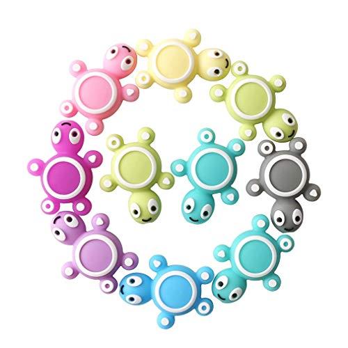 Mamimami Home Baby Spielzeug Silikon Beißring Perlen 10PC Regenbogenschildkröte Gestalten Pflegezubehör DIY Zahnen Halskette Kauen Armband Anhänger Duschgeschenk