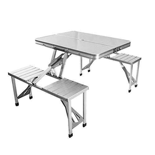 NSH Juego de combinación de mesas y sillas Plegables para Exteriores, portátil, Ligero para Picnic, Barbacoa, Acampada, aleación de Aluminio, fácil de Plegar