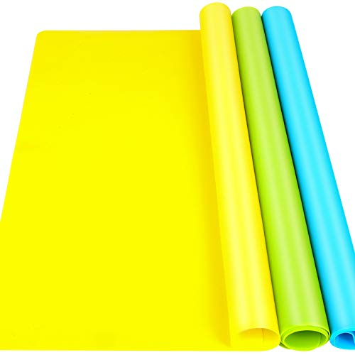 """LEOBRO 3 Pack A3 Large Silicone Mats for Crafts, 15.7"""" x 11.7""""Silicone Craft Mat for Resin Casting Mould, Nonstick Nonslip Silicone Sheet, Heat-Resistant Mat, Blue, Yellow, Green"""
