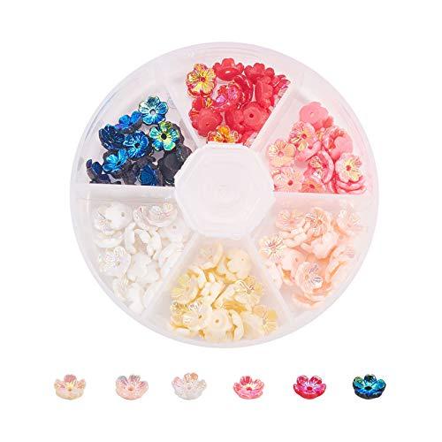Stiesy 120 unidades por caja de cuentas de resina de chapado al vacío, tapas de cuentas de flores plateadas en color AB para hacer joyas, accesorios de bricolaje - 8 x 3 mm