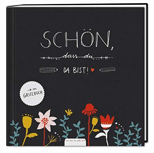 Gästebuch für Hochzeit, Geburtstag, Ferienwohnung & Taufe schwarz, Hochzeitsgästebuch Schön dass...