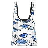 TEGUJ - Bolsas de compras plegables reutilizables, para acuario, peces azules, impermeable, ligera, de gran capacidad, ecológica, con asas para viajes de compras