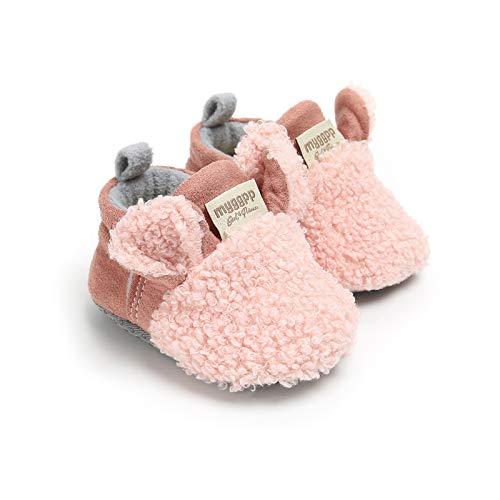 Vanornia Scarpine Primi Passi da Neonati Unisex in Cotone e Pile Invernali Calde con Morbida Suola Antiscivolo Casual Carino 0-18 Mesi (Rosa, 12-18 mesi)