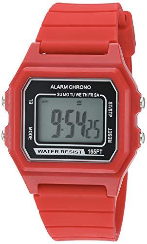 Amazon Essentials Men's Digital Chronograph Red Silicone Strap Watch