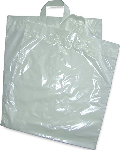 50 Stück LDPE-Handschlaufentasche in weiß 45x50+5 cm - 50 my - Tragetasche,Einkaufstüte