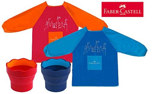 Faber-Castell  Kinder-Malschürze , Blau + Rot / Orange, Schürze + Becher