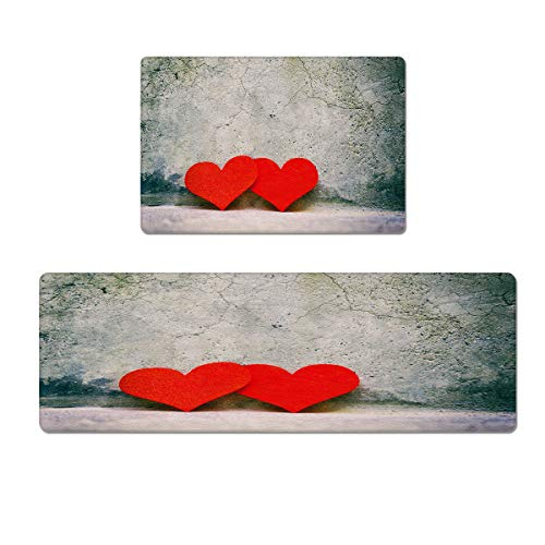 Libaoge Kitchen Rugs Sets 2 Piece Non-Slip Waterproof PVC Leather Valentine's Day Red Heart Cement Wall Corner Floor Mats Bath Rug Doormat Runner Carpet Set 18x30in+18x47in