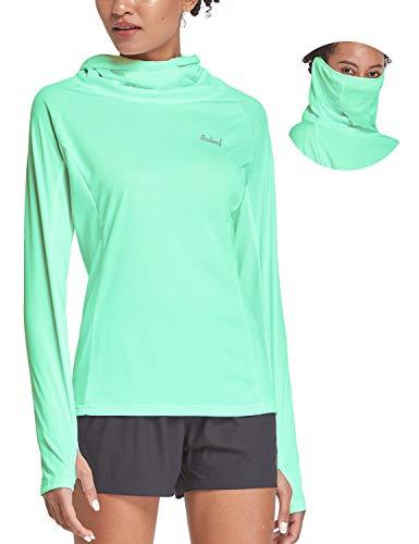 BALEAF Women's Hiking Long Sleeve Shirts with Face Cover Neck Gaiter UPF 50+ Lightweight Quick Dry SPF Fishing Running Hoddie Light Green Size XXL