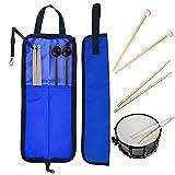 Funda para baquetas de batería Oxford, resistente al agua, portátil, con asa, color azul