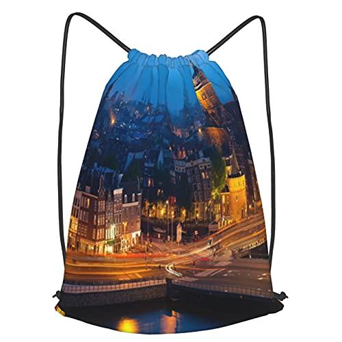 Sacca Zaino Coulisse,Stampa di viaggio famoso della città di Amsterdam,Borsa da Ginnastica Sportive Unisex bag Nuoto Kit Zaino Palestra Borsa da Spiaggia,Perfetto per scuola, sport, spiaggia e viaggi