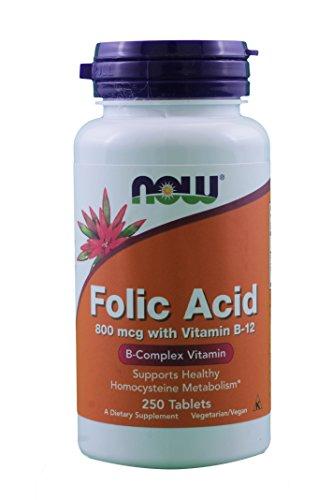 NOW Foods Folic Acid 800 mcg Tabs, 2 pk