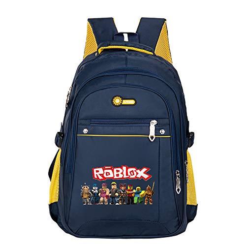 Roblox Mochila Casual Bolso Escolar Multifuncional para niños de Estilo británico Bolsa de jardín de Infantes Mochila Bolsa Clase de Preescolar Unisex (Color : Dark Blue06, Size : 30 X 19 X 45cm)