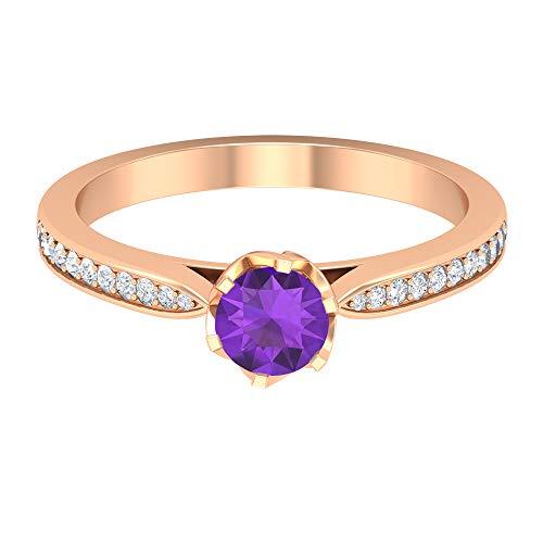 Anillo solitario de amatista de 5 mm, anillo de compromiso con acento de diamante HI-SI, anillo solitario con piedras laterales, 14K Oro rosa, Size:EU 67