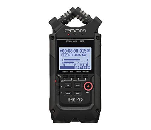Zoom H4n Pro Black/220GE Handy Recorder - Audio Aufnahmegerät (4 Spuren, Mikrofonverstärker, bis 140 db SPL, 3, 5 mm Klinke In, +24/48V Phantomspeisung, 1, 9