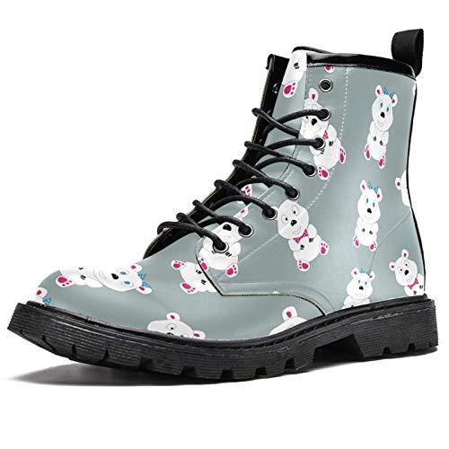 LORVIES Oso polar divertido de cómic, botas altas para hombre, zapatos con cordones de piel, (multicolor), 41 EU