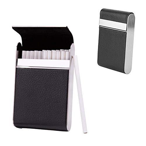 Cafopgrill Zigarettenetui Leder, Halten Sie 20 Zigaretten Extra Slim Zigarettenetui Leder Zigarettenetui Zigarettenspitze Aufbewahrungsetui Edelstahl Raucher Frauen Zigarettenetui(schwarz)