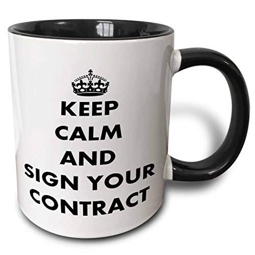 mug_63144_4 'Firme su contrato: mantenga la calma y continúe, humor, humor, diversión, gracioso, parodia, disciplina' Taza negra de dos tonos, multicolor