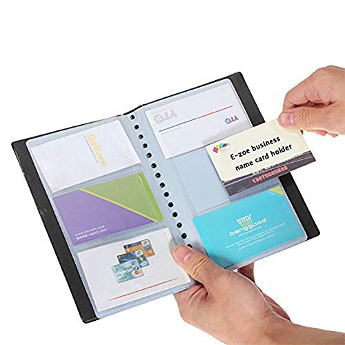 Business Card Holder PeachFYE Leather 120 Slots Business Name ID Credit Card Holder Rack Book Case Organizer 120cell