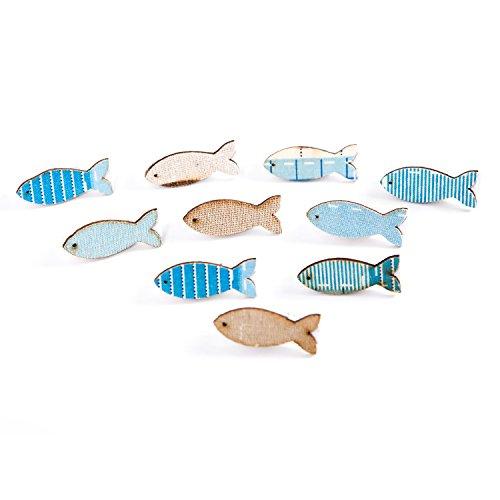 Logbuch-Verlag 10 kleine maritime Stoff Fische Klammern Holzklammer Dekoklammer blau weiß Zierklammer Mini Tischdeko Kommunion Taufe Kindergeburtstag