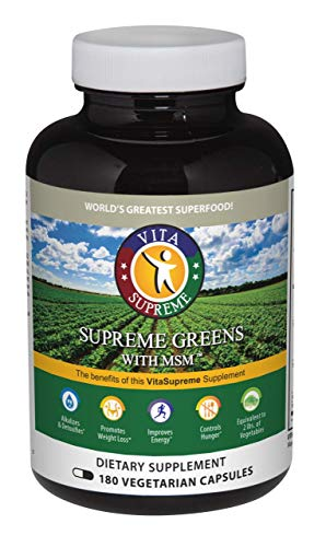 Supreme Greens Superfood Capsules – All Natural Dietary Supplement Made with Super Foods, Herbs, Vegetables, Grasses, Sprouts, and Antioxidants for Energy and Weight Loss – 180 Capsules