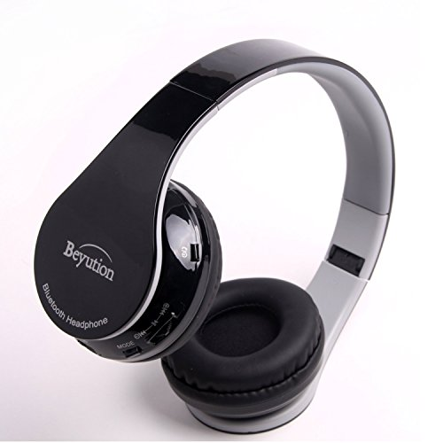 Beyution Hi-Fi Stereo Bluetooth Headphones Best audio Performance Over-ear Bluetooth Headset for Apple Iphone 7 6 5s 5c 5 iPAD Ipod iTouch MAC SAMSUNG S5 S4 S3 Note5 Cell Phone and tablet(BT513-black)