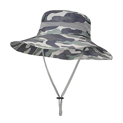 ZLYC Sombrero impermeable de camuflaje para hombre con ala ancha plegable de malla para pesca al aire libre - verde - Large