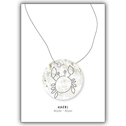 1 verjaardagskaart: Horoscoop felicitatiekaart voor iedereen die in het sterrenbeeld van de kreeft geboren zijn • mooie wenskaart met envelop voor beste vrienden en lievelingsmensen.