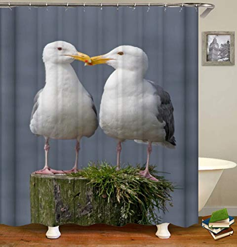 Seagull Decoration. Size: 180X180Cm. Includes 12 C-Shaped Hooks. It Dries Quickly And Does Not Fade. Curtain Shower Curtain Background Cloth.