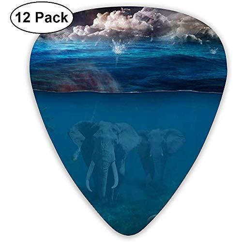 Sherly Yard 12 Pack Púas de guitarra de celuloide Plectrums con soporte de púas Estampado de elefante bajo el agua para guitarra Bajo Mandolina Ukulele 0.46 mm 0.71 mm 0.96 mm